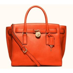 Michael Kors Hamilton Orange Leather Purse